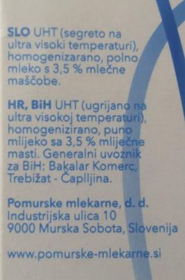UHT Pomursko mlejko - Ingredients - en