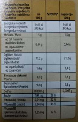 3 žita, riž, pira in ječmen - Nutrition facts