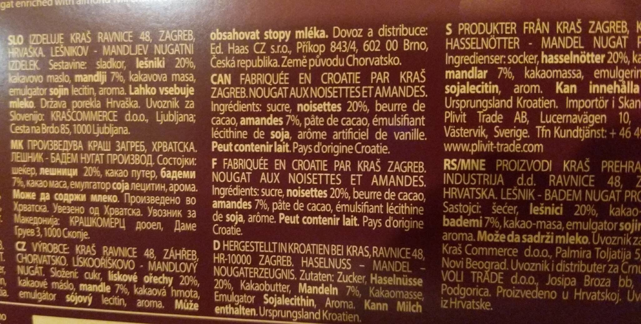 Bajadera - Nutrition facts - en