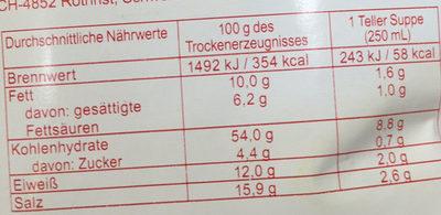 Podravka Rindersuppe Mit Nudeln - Nutrition facts