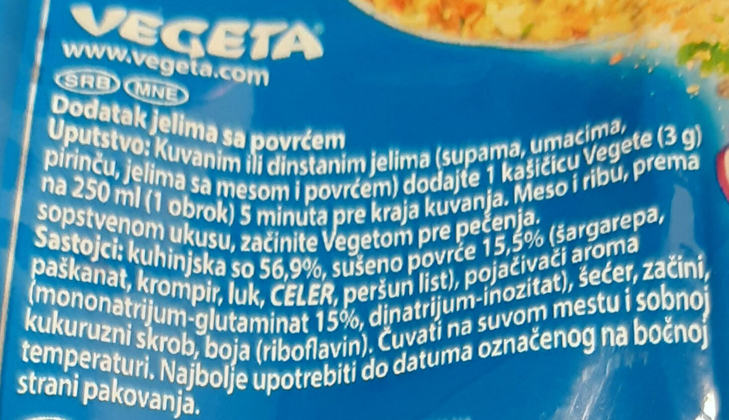 Vegeta - Ingredients - sr