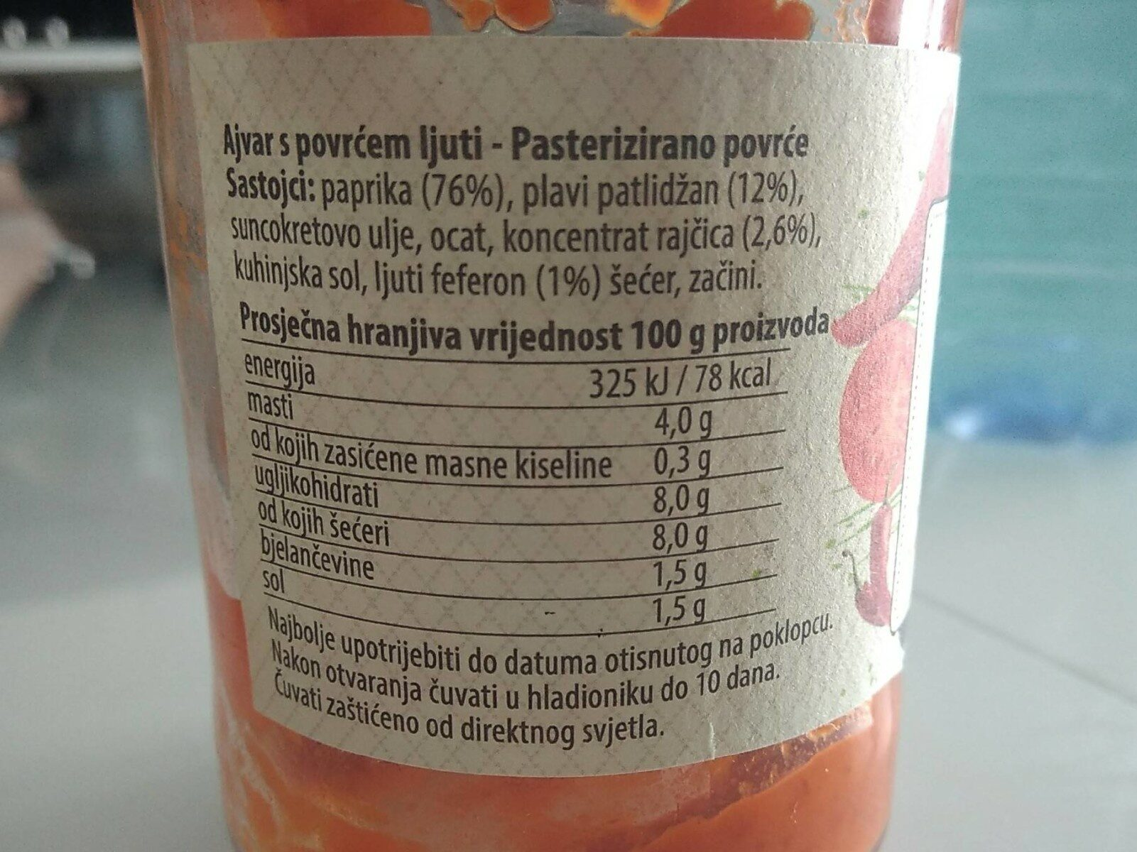 Ajvar, Ljuti - Informations nutritionnelles - fr