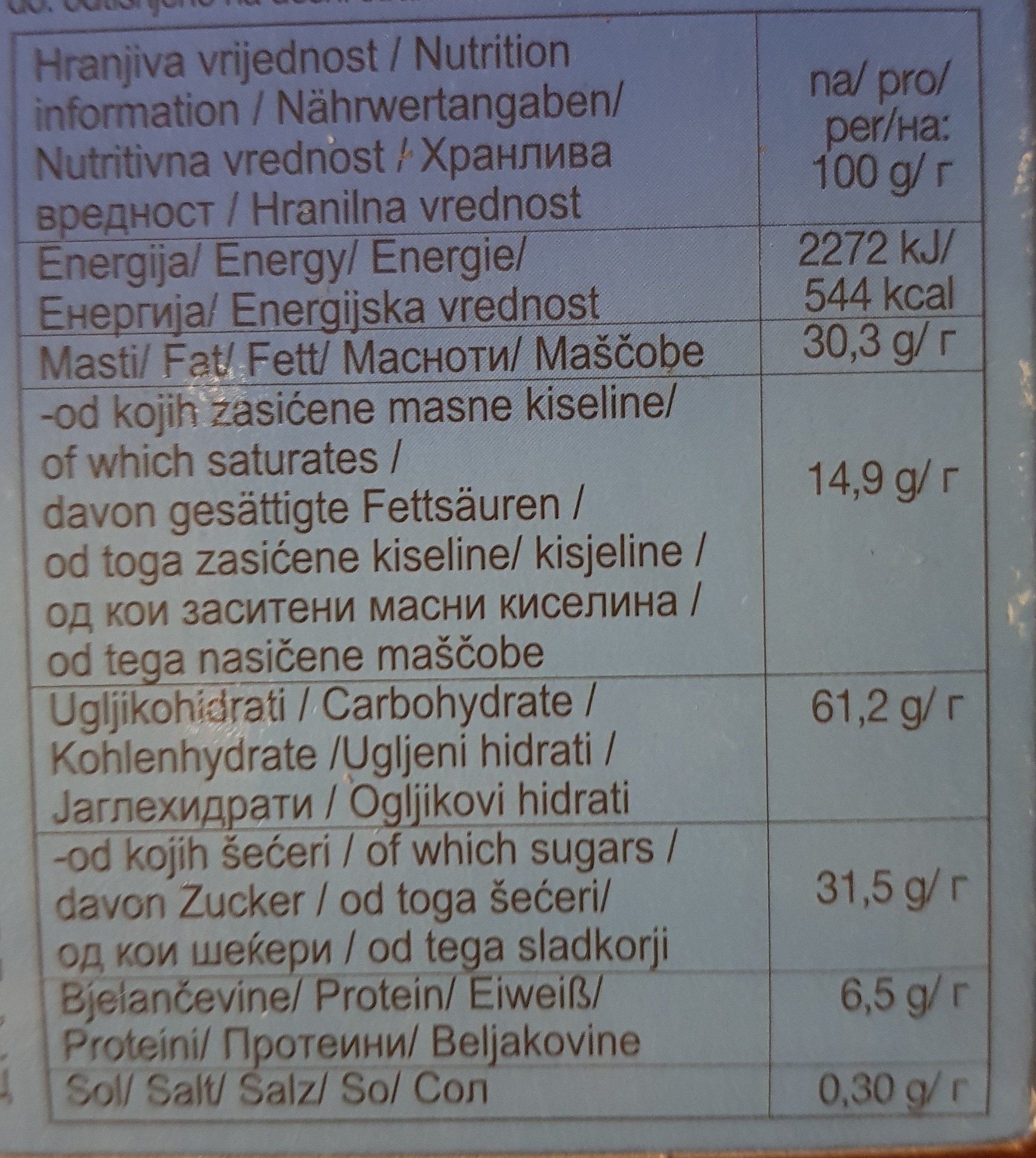 Sloboda Wafers Jadro-coconut - Ingrédients