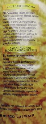 Makaron z pszenicy twardej durum - Składniki - pl