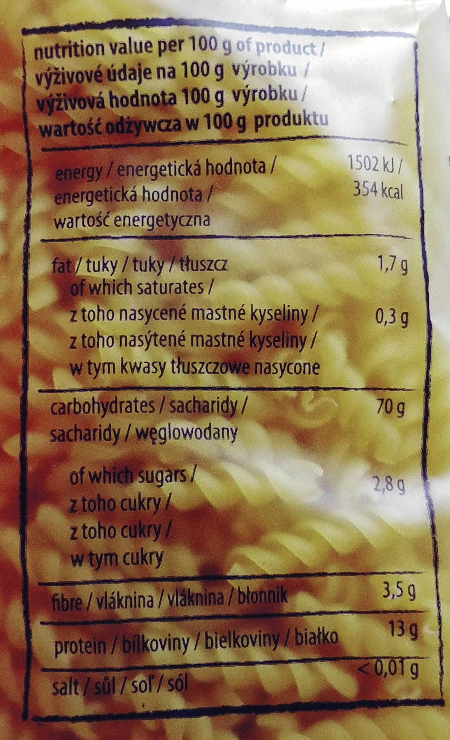 Makaron z pszenicy twardej durum - Wartości odżywcze - pl
