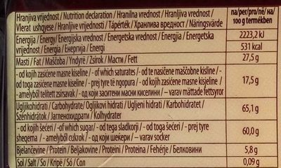 Čokolada za kuhanje - Nutrition facts - sr