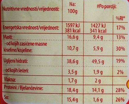 C ideja za Makaroni 4 sira - Nutrition facts - sr