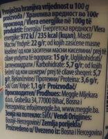 Vajkrem light - Informations nutritionnelles - sr