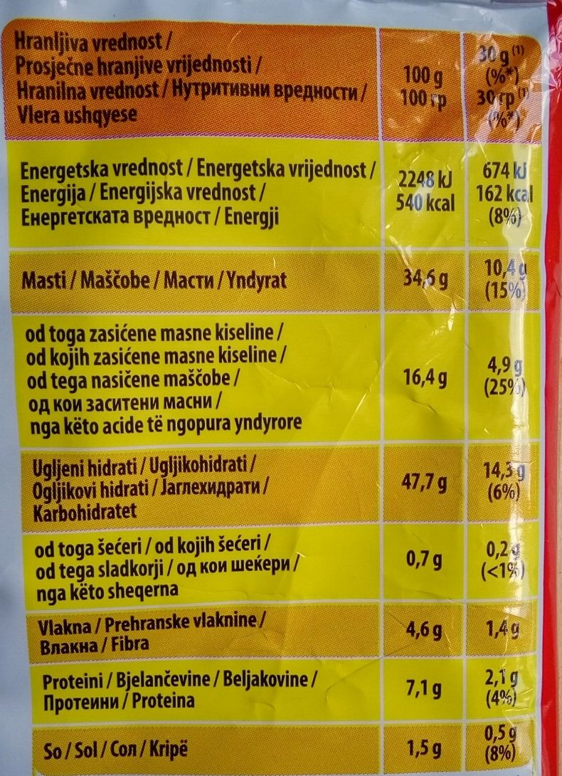 Classic - Nutrition facts - sr