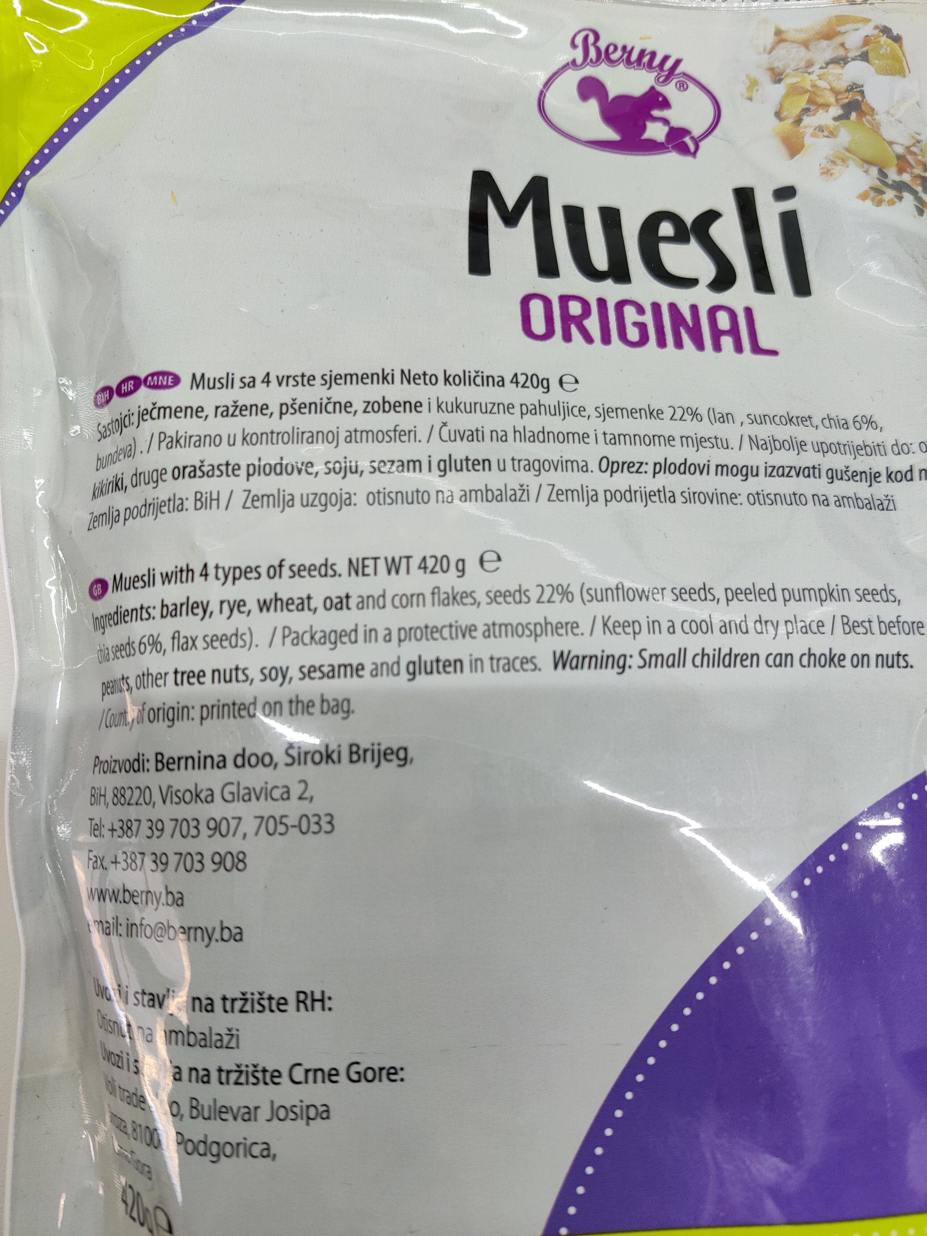 Muesli with 4 types of seeds - 成分 - en