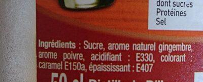Sirop de gingembre - Ingrédients - fr