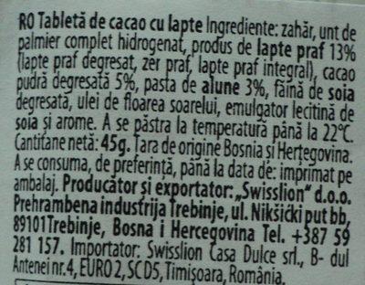 Eurocrem Tabletă de cacao cu lapte - Ingrédients