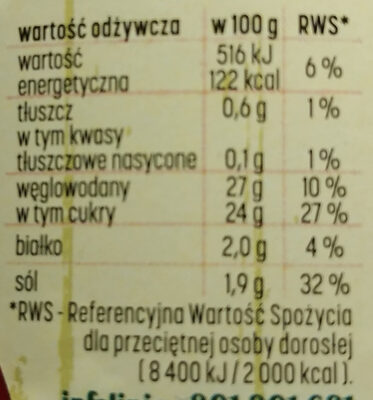 Ketchup pikantny - Nutrition facts - pl