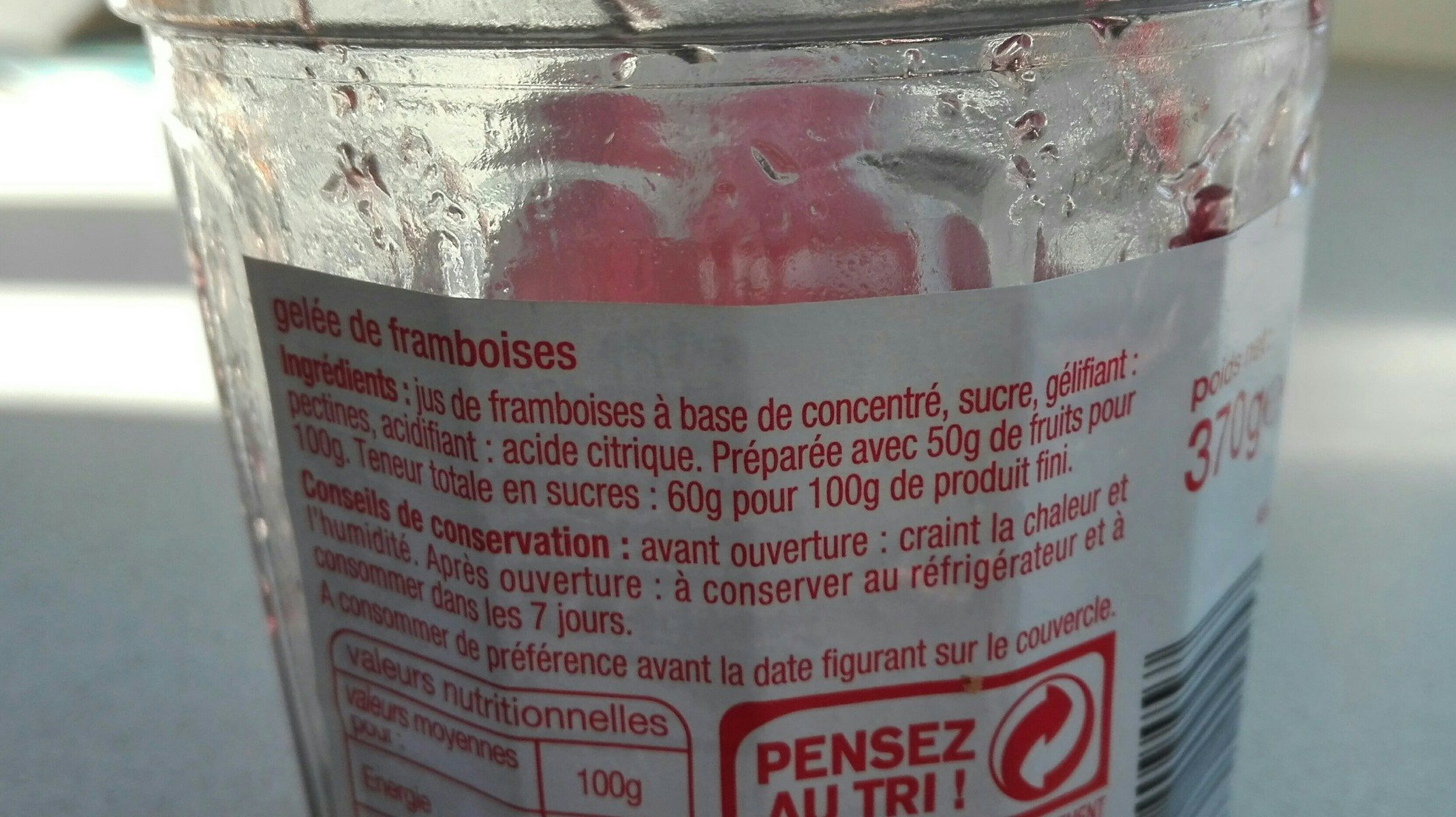 Gelée de framboises - Ingrediënten
