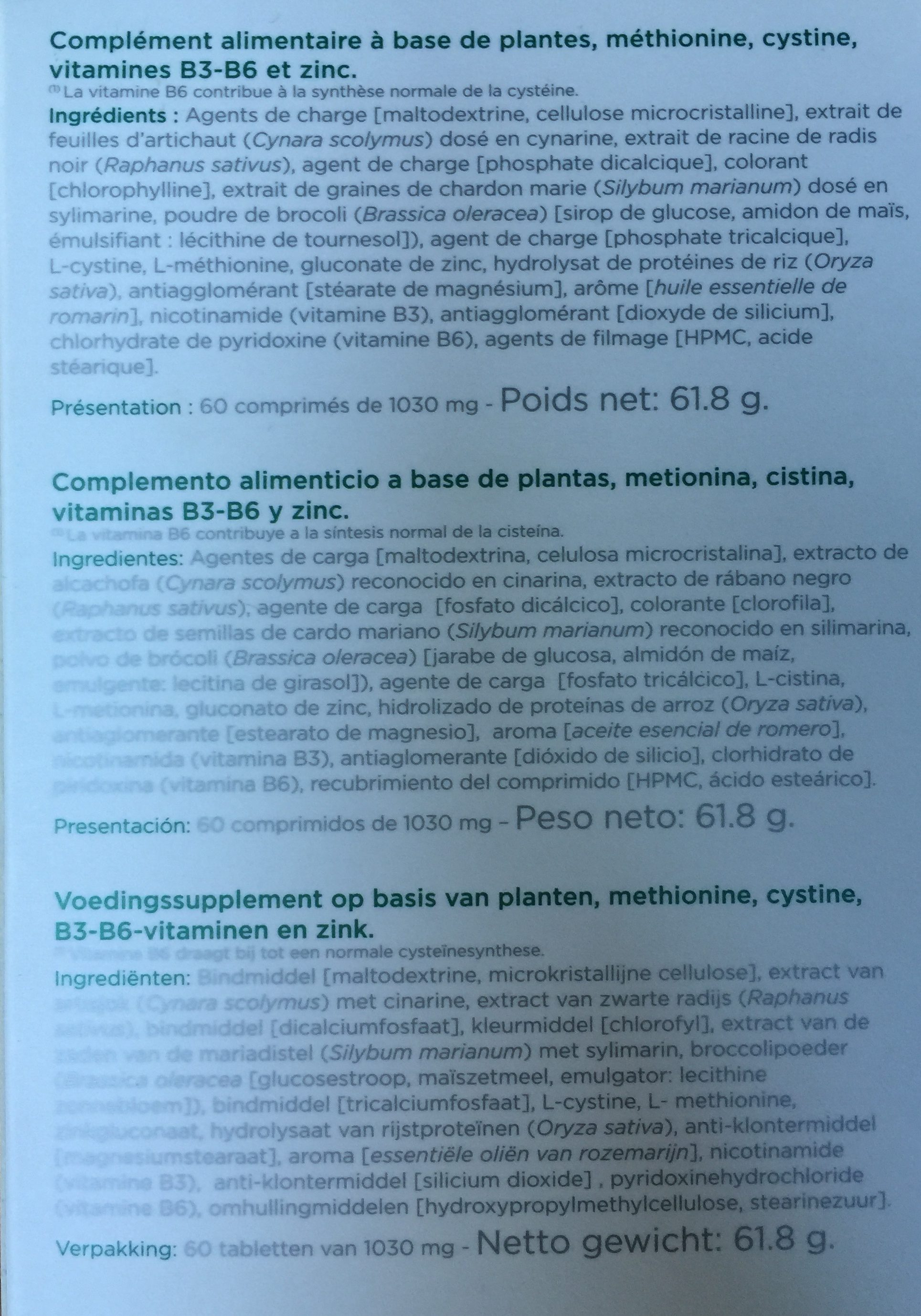 Inovance Hepactiv 60 Comprimés - Ingredients - fr