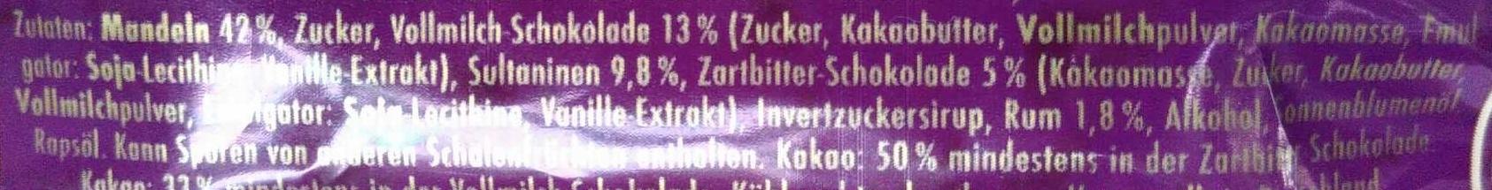 Marzipan Knusperbrot Rum-Traube - Ingrédients