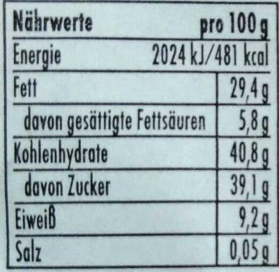 Marzipan Knusperbrot Rum-Traube - Informations nutritionnelles