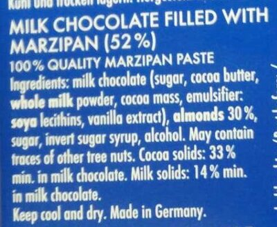 Marzipan with milk chocolate - Ingredients - en