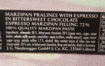 Espresso Marzipan - Ingrédients