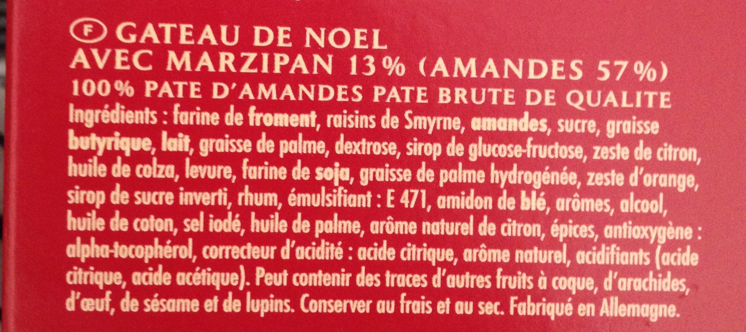 Niederegger Marzipan-stollen 500G - Ingredients - fr