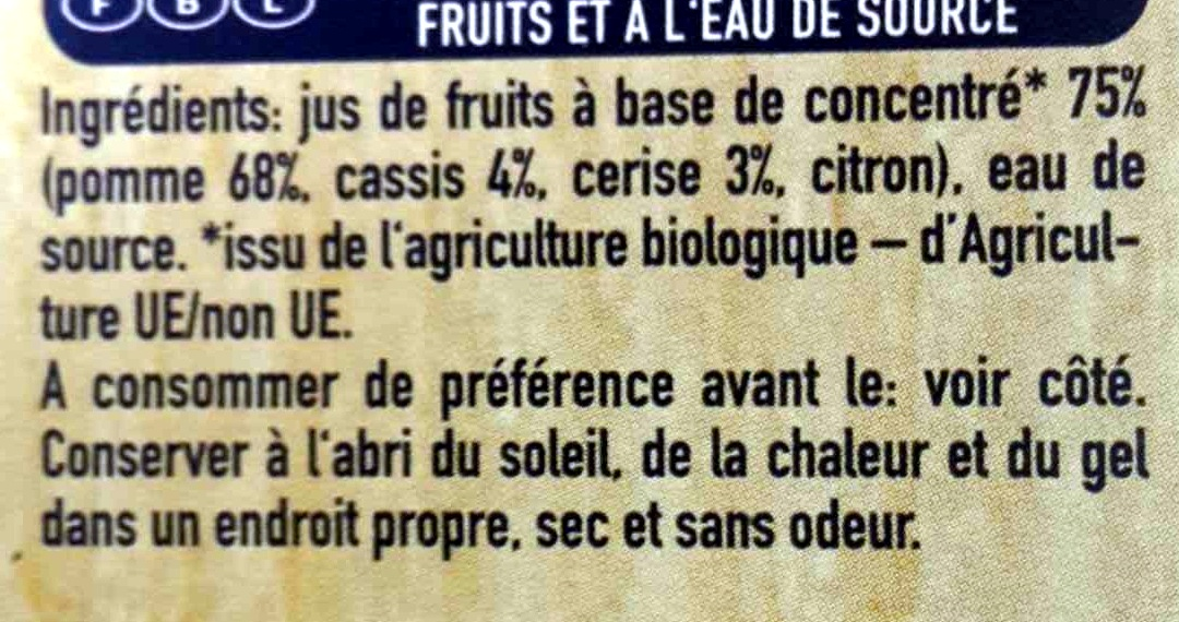 Capri-Sun pomme cassis cerise bio - Ingredienti - fr