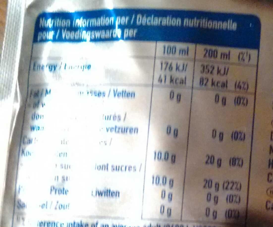 Orange - Información nutricional - fr