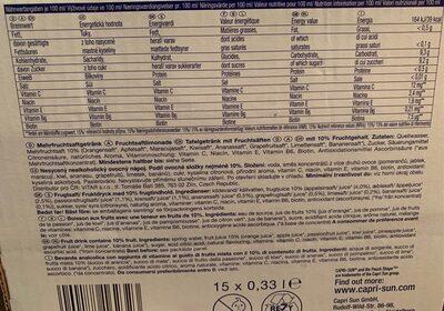 Capri-sonne Multivitamin 33 Cl, 15 Sachets - Valori nutrizionali - fr