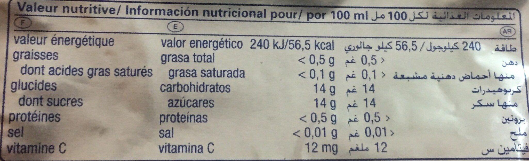 Capri-sun - Valori nutrizionali - fr