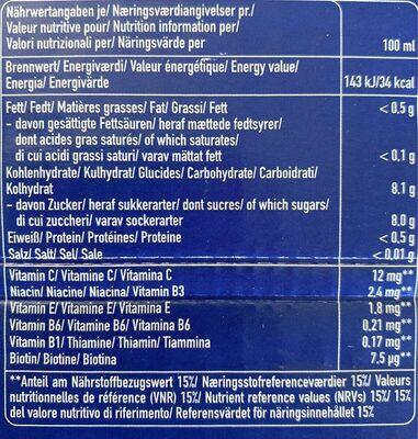 Multi Vitamin x - Valori nutrizionali - fr