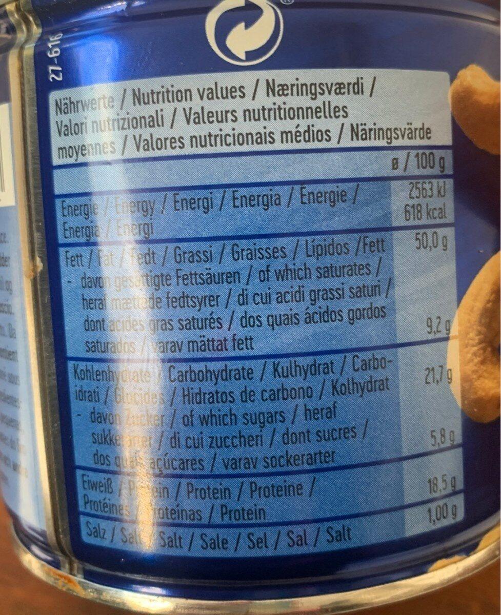 Cashews Geröstet Und Gesalzen 150G Dose Pittjes - Informations nutritionnelles - fr