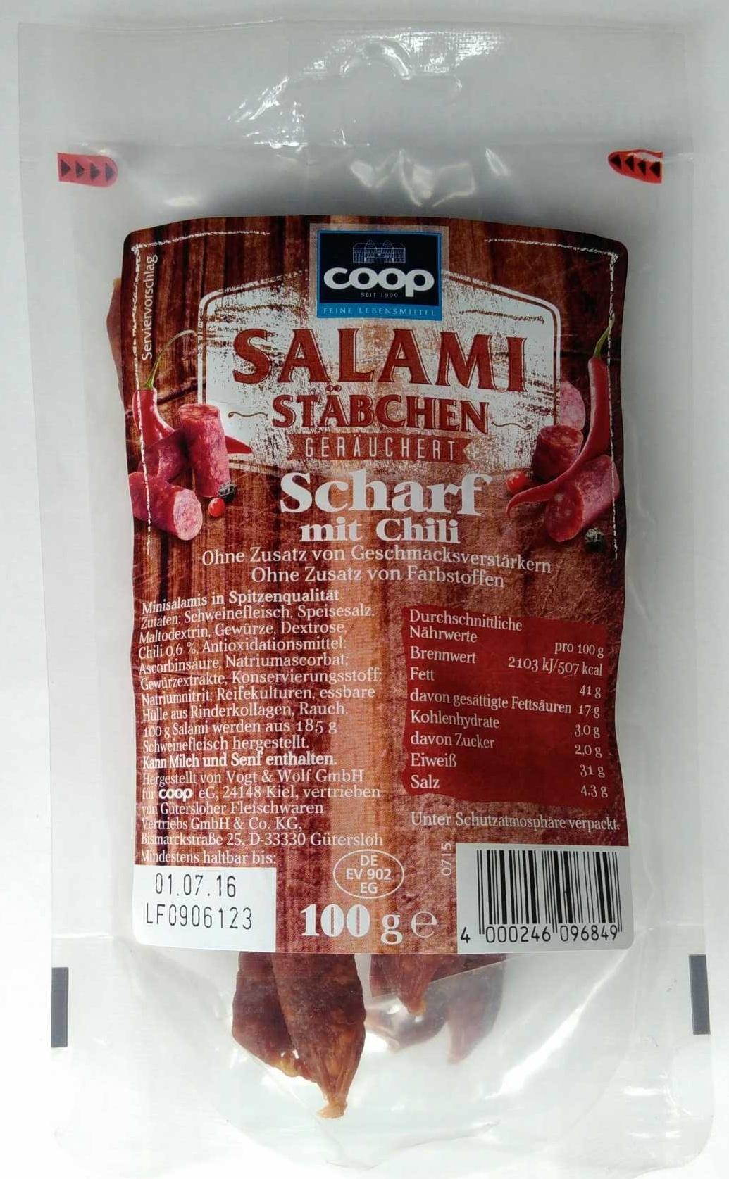 Salamistäbchen scharf mit Chili - Produit - de