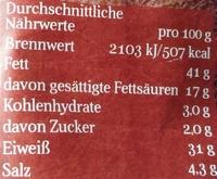 Salamistäbchen scharf mit Chili - Informations nutritionnelles - de