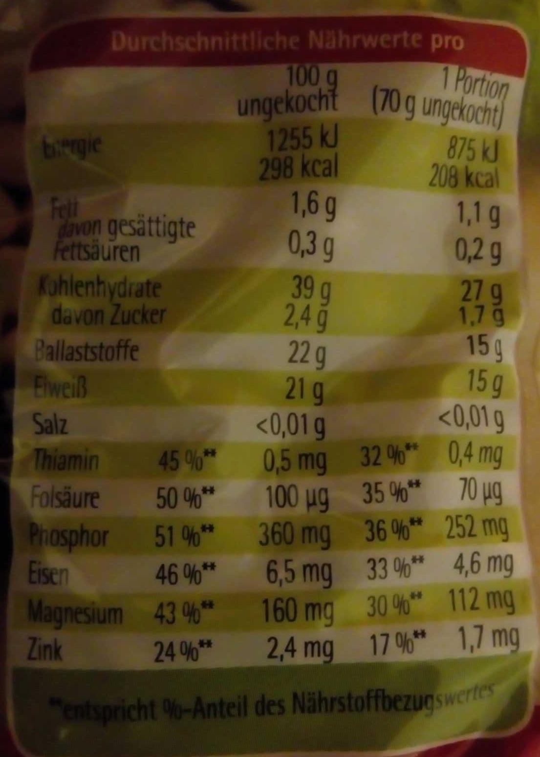 Weise Bohnen - Voedingswaarden - de