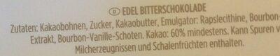 Edel Bitterschokolade - Zutaten - de