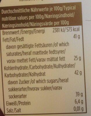 Edel Bitterschokolade - Nährwertangaben - de