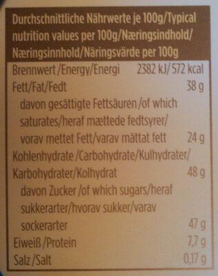 Frühlings Täfelchen Vollmilch-Hochfein - Informations nutritionnelles