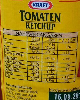 Tomaten Ketchup - Informations nutritionnelles - de