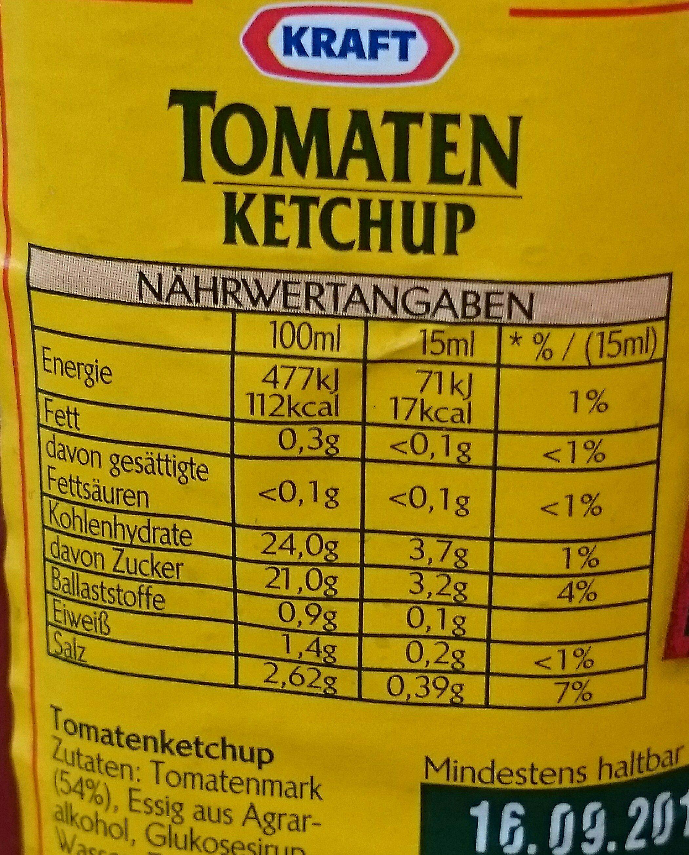 Tomaten Ketchup - Voedigswaarden