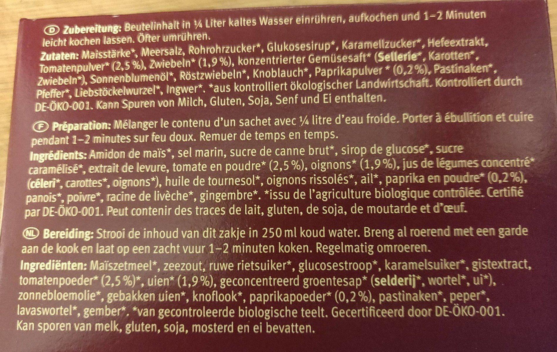 Dunkle Sauce - Ingrédients - fr