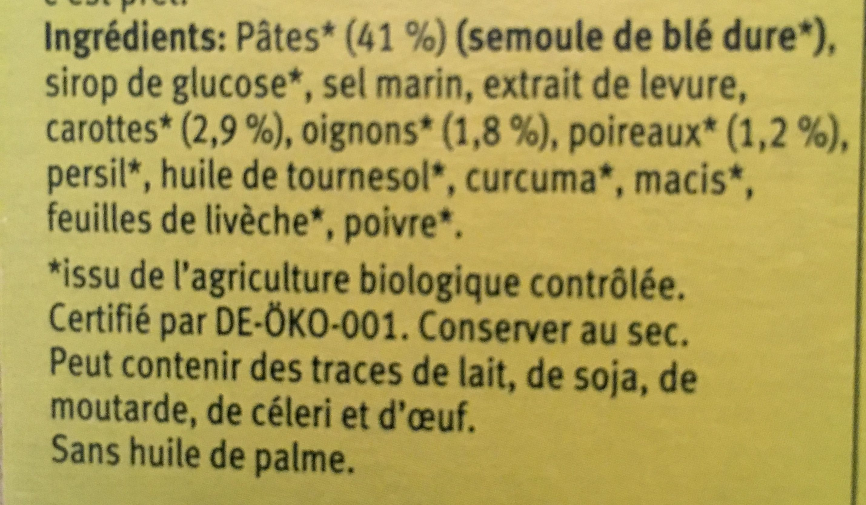 Soupe Instantanee Printemps 34G Demi L - Ingredientes - fr