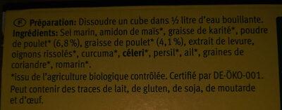 Bouillon de poulet bio - Ingrediënten - fr