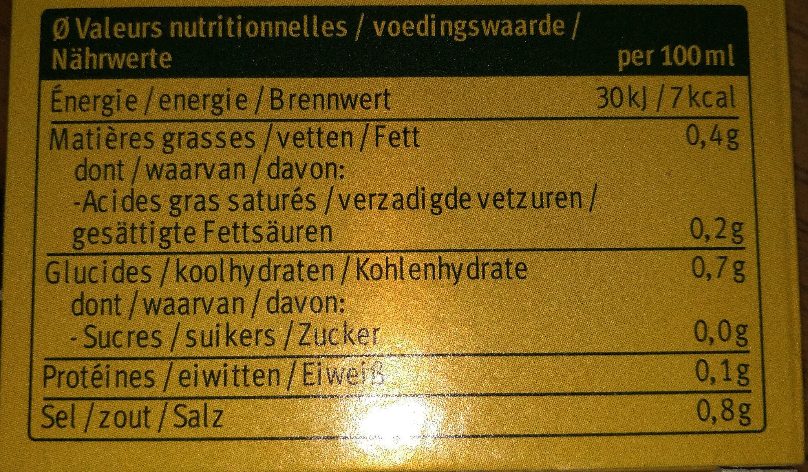 Bouillon de poulet bio - Voedingswaarden - fr