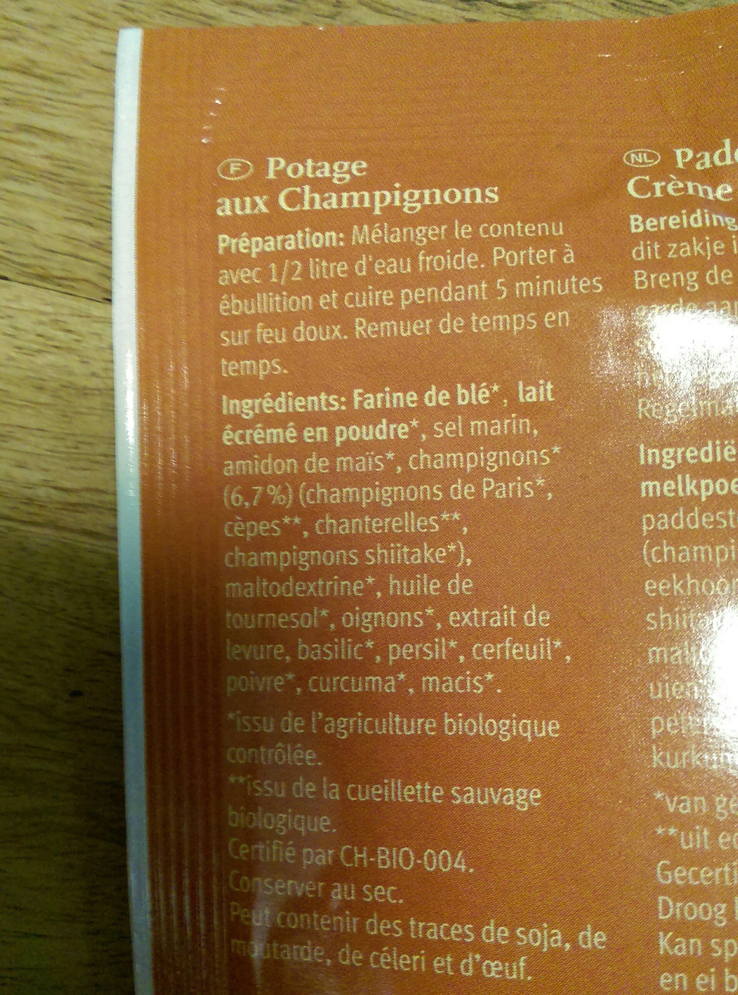 Potage aux champignons - Ingrediënten - fr