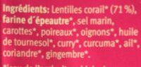 Potage aux lentilles corail - Ingrediënten - fr
