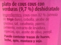 Cous cous - Ingredientes
