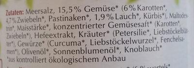 Klare Gemüsebouillon mit 15,5 % Gemüse - Ingredientes - de