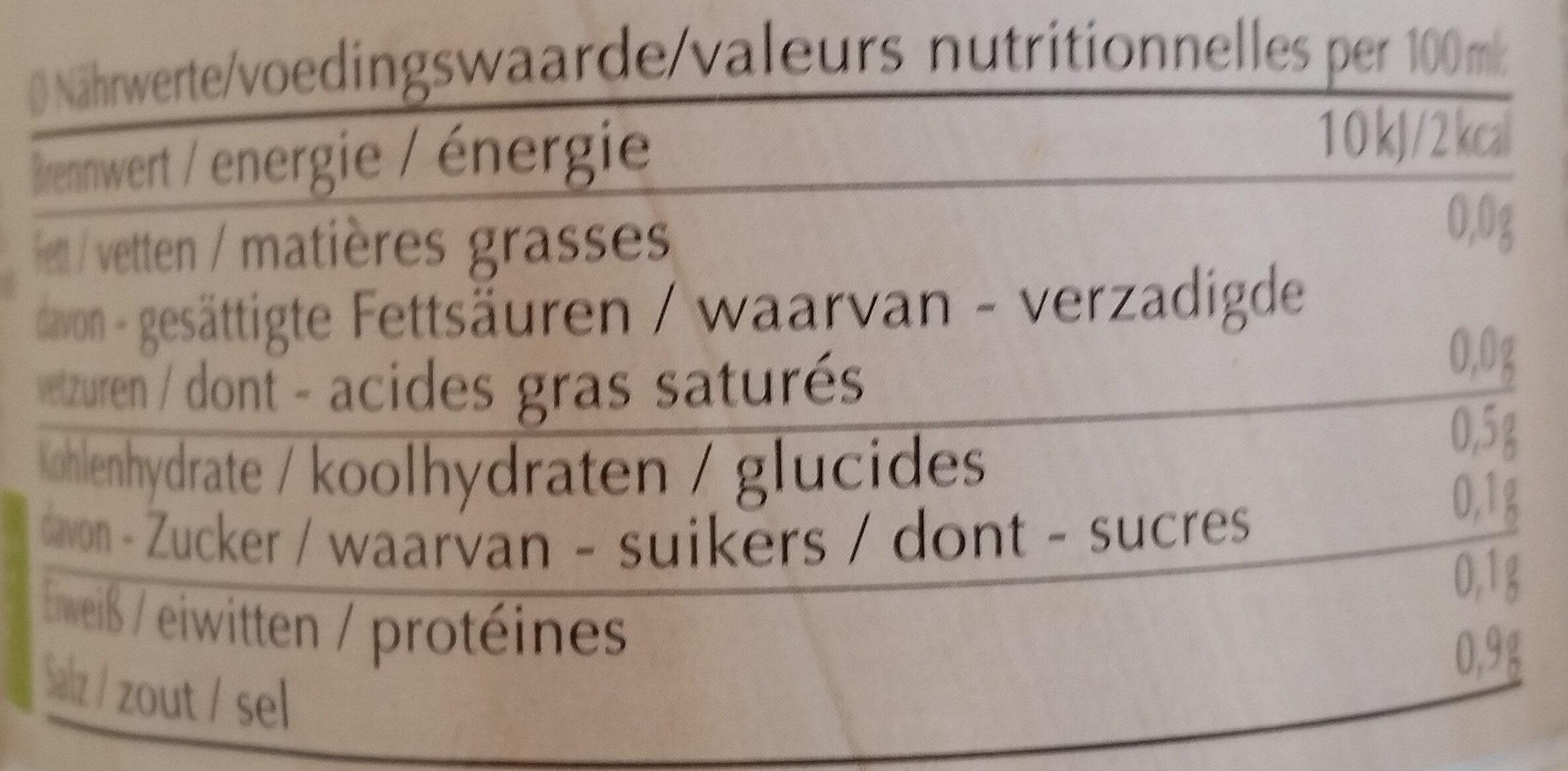 Klare Gemüsebouillon mit 15,5 % Gemüse - Información nutricional - de