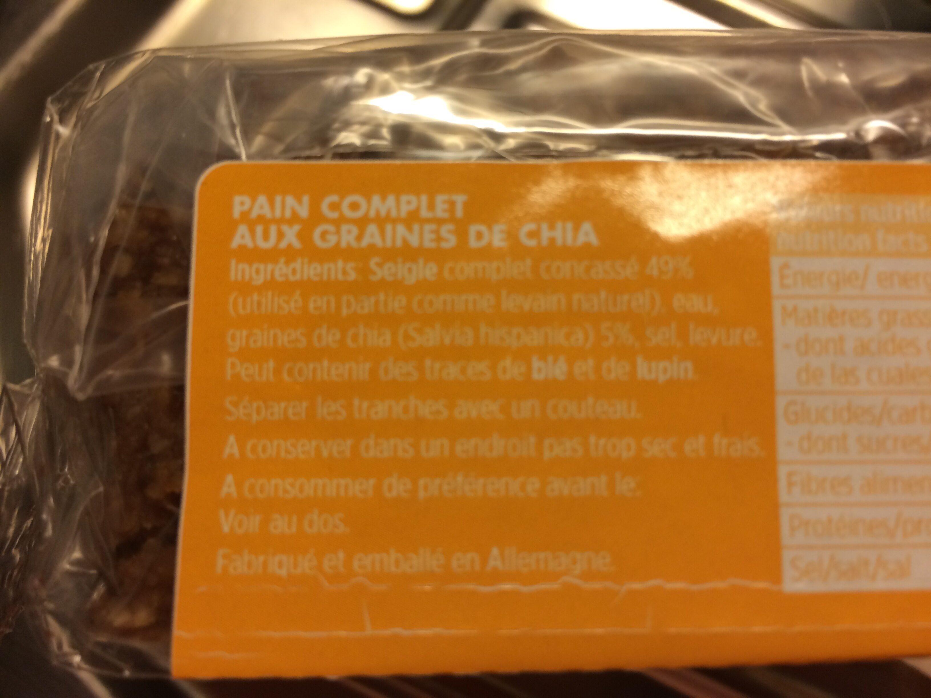 Pain complet aux graines de chia - Ingrédients - fr