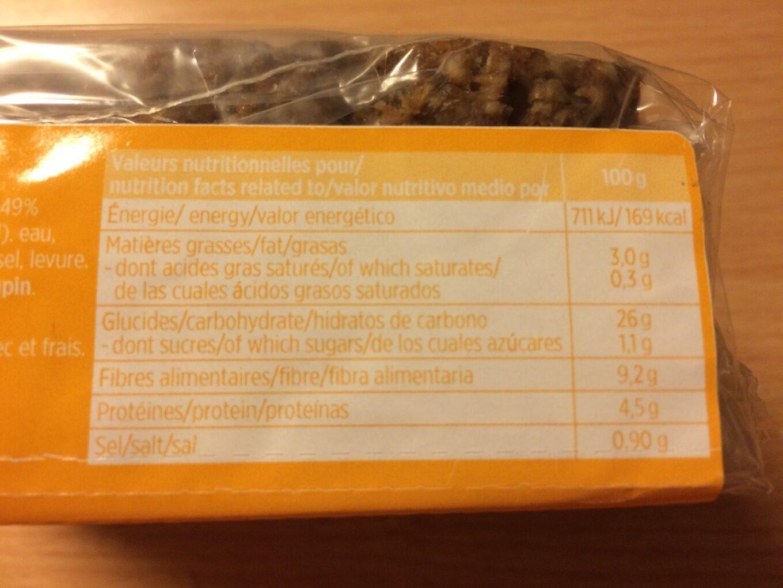 Pain complet aux graines de chia - Informations nutritionnelles - fr