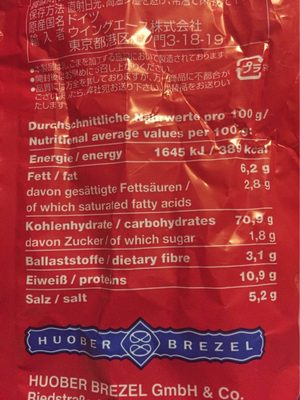 Schwäbische Knusper-Brezel - Informations nutritionnelles - fr